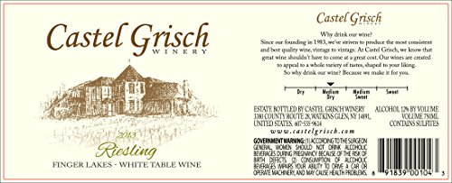 2013 Castel Grisch Riesling Finger Lakes 750 Ml