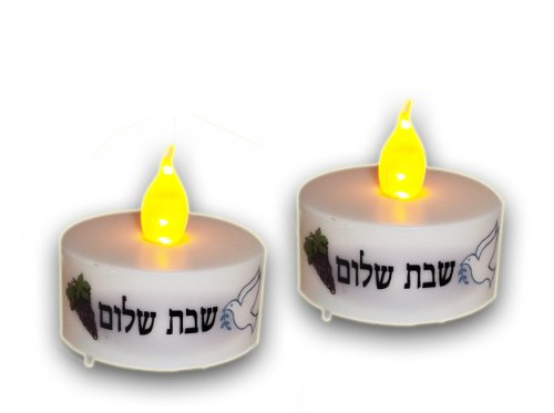 Shabbat Candles Led Tea Lights Safe Battery Operated Burns 60 Hours Set Of Two - Flickering Effect