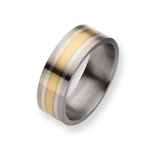 Titanium 14k Gold and Sterling Silver Inlay 8mm Satin Comfort Fit Wedding Band Ring (SIZE 13 )