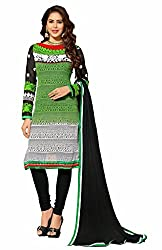 Fabvila Green Georgette A-line Unstitched Dress Material