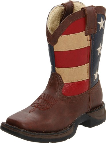 Durango Kids Lil' 8 Inch Patriotic,Brown/Union Flag