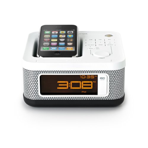 1 save memorex mi4604p mini alarm clock radio for ipod and iphone white ipod dock alarm clock. Black Bedroom Furniture Sets. Home Design Ideas