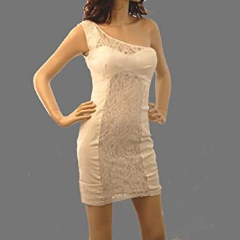 Sexy Off White Lace One Shoulder Cocktail Stretchy Dress (Small)