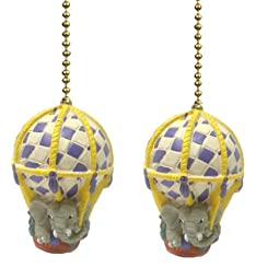 Set of 2 Hot Air Balloon With Elephant Ceiling Fan Pulls