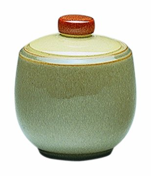 Denby Fire 10-Ounce Covered Sugar Bowl, Cream/Sage/Yellow