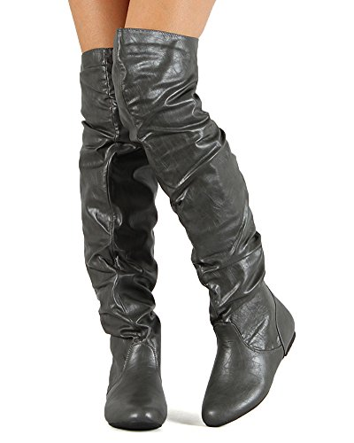 Nature Breeze Ac09 Women Leatherette Slouchy Thigh High Boot - Grey (Size: 9.0)