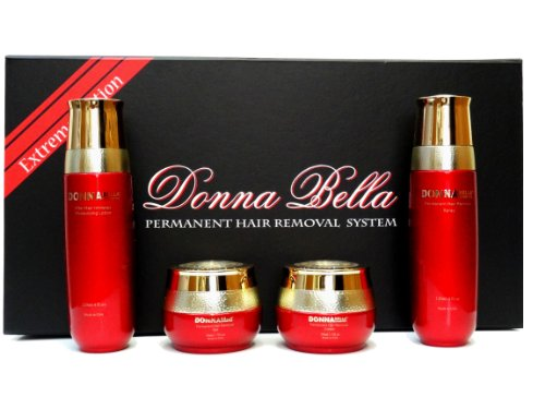 Donna Bella Cosmetics Permanent Hair Removal System Extreme Edition Kit / Set Home Use - 4 Items - Made In USA with Natural Ingredients.