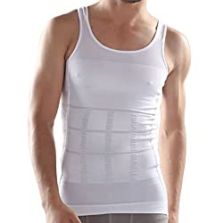 Laceandme Men's Slimming Tummy Tucker Shaper Undershirt Vest (LM-VEST_White_Medium)