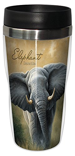 Tree-Free Greetings 25702 Jeremy Paul Elephant Sip 'N Go Stainless Lined Travel Mug, 16-Ounce