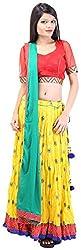 Arya The Design Gallery Women's Cotton Lehenga Choli (SK10078, Yellow, XL)