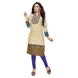Stylish Girls Women Cotton Printed Unstitched Kurti Fabric (SG_K1018_White_Free Size)