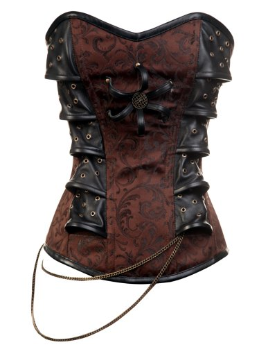 CD-313 - Brown Steampunk Style Corset with Chain Detail - 20