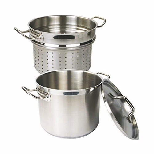 PASTA COOKER W/ LID 3 PIECE SET 18/8 STAINLESS STEEL PROFESSIONAL COOKWARE 12 QT OR 20 QT (20 QT)