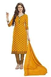 RK Fashion Womens Cotton Un-Stitched Salwar Suit Dupatta Material ( SANDHYA-PAYAL-2006-Orange-Free Size )