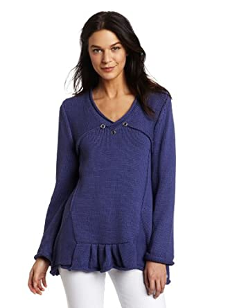 Pure Handknit Women's Asha Swing Pullover Sweater, Blue Mountain High, X-Small