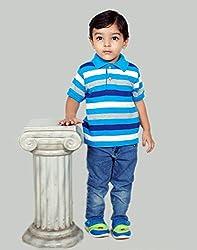 Snoby Collar Tshirt for boys-blue white & Grey stripes(SBYkk708)
