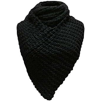 Luxury Divas Black Thick Winter Knit Triangle Infinity Shawl Scarf