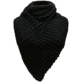 Luxury Divas Black Thick Winter Knit Triangle Infinity Shawl Scarf
