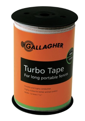 Gallagher G623564 Electric Fence 1/2-Inch Turbo Tape, 1312-Feet, White