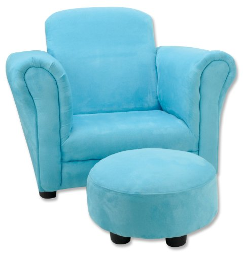 Trend Lab Ultrasuede Club Chair and Ottoman Set, Turquoise