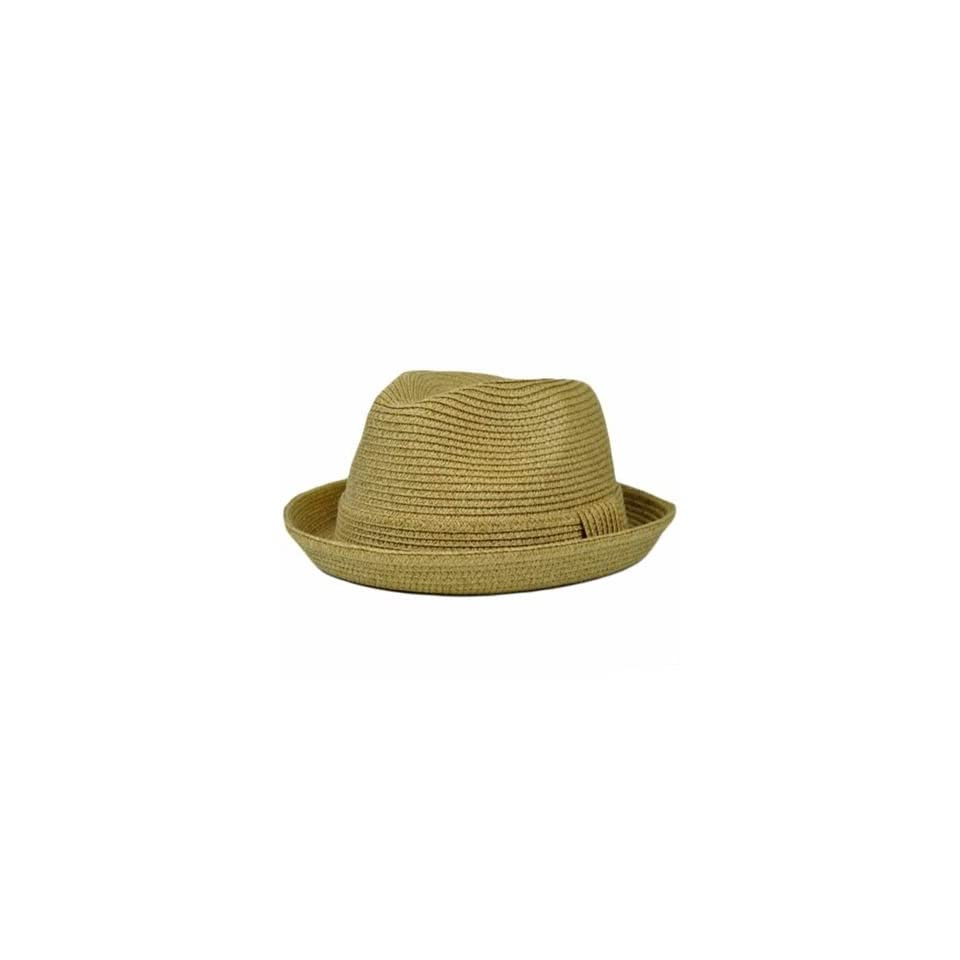 5536c5059b442 Khaki Tan Fits One Size 100% Paper Fedora Stetson Homburg Bowler Flip Bowl  Hat