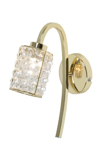 Oaks Lighting Entice 1 Light Wall Bracket in Gold Plated Finish with Crystal Drops