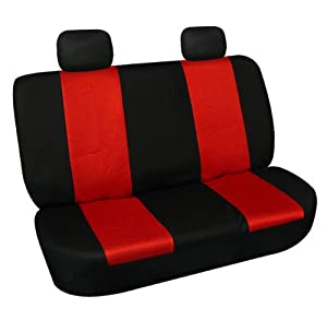 FH-FB102R012 Classic Bench Car Seat Cover Red / Black