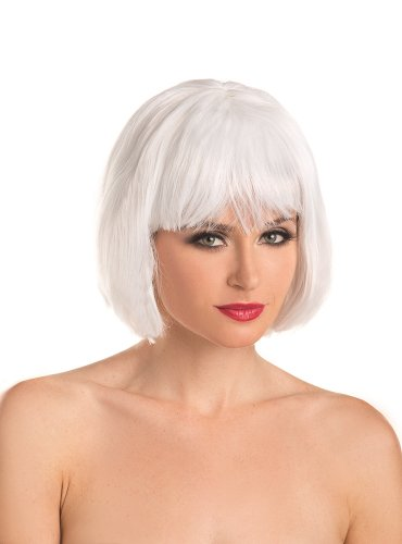 Be Wicked Women's Short Bob Wig, White, One Size