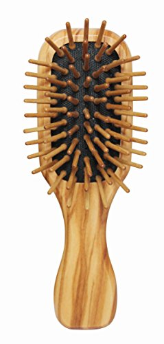 Lilywoods Mini Travel Size Wooden Hairbrush - with Rubber Cushion and Olive Wood Pins - Rectangular (Rectangular Hair Brush compare prices)