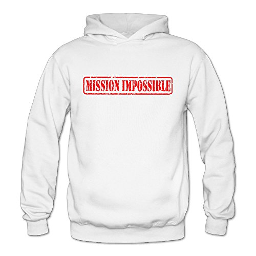 QK Mission Impossible Letter Women's Fleece Long Sleeve Hoodie White S