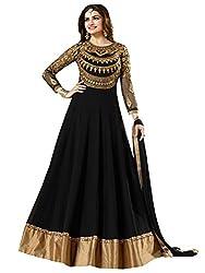 Justkartit Women's Black Colour Georgette Zari Embroidery Wedding wear Dress Material / Elegant Long Anarkali Style Dress Material (Latest fashion) / Wedding wear Gown