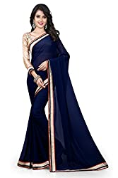 FAIR LADY (Women's) Blue color Chiffon Saree With work Blouse Piece