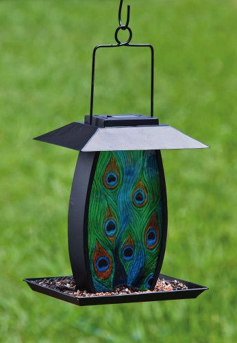 Cheap Metal and Glass Solar Powered Birdfeeder – Peacock (2BF198)