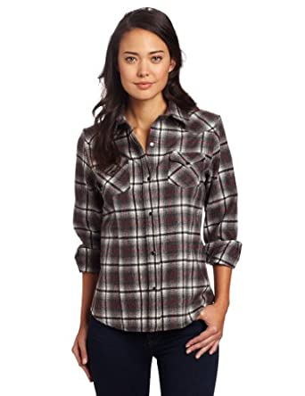 Pendleton women 39 s fitted plaid snap shirt grey red rock for Grey plaid shirt womens