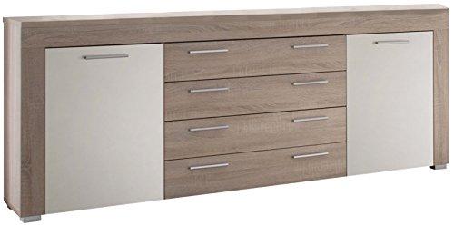 trendteam BM87241 Sideboard Wohnzimmerschrank Eiche-sägerau hell, Absetzungen weiß, BxHxT 176x79x40 cm kaufen