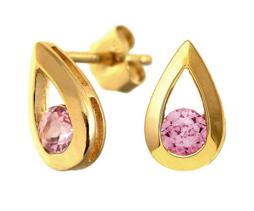 9ct Yellow Gold 0.40ct Created Pink Sapphire Teardrop Earrings