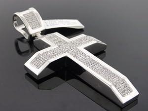 Designer Hip Hop Men's Cross Charm Pendant 10k White Gold 1.75ct Diamond P-5050AW