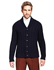 Best of British Pure Wool Shawl Collar Cardigan