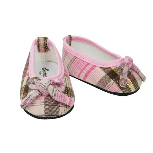 Pink & Brown Plaid Ballerina Shoe, Fits 18 Inch American Girl Dolls - 1