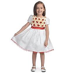 Western Look Styliest Modern Red & Cream Rose Flower Dress -3-4 Years