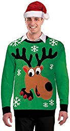 Forum Novelties Men\'s Reindeer Novelty Christmas Sweater, Multi, Medium