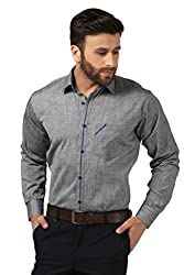 Mesh Full Sleeves Casual Cotton Blend Shirt for Men's/Boy's (Grey) -42