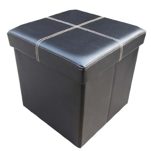 Ottoman - Large Folding Storage Black Faux Leather Pouffe Single Seater Stool Box Home Storage Furniture