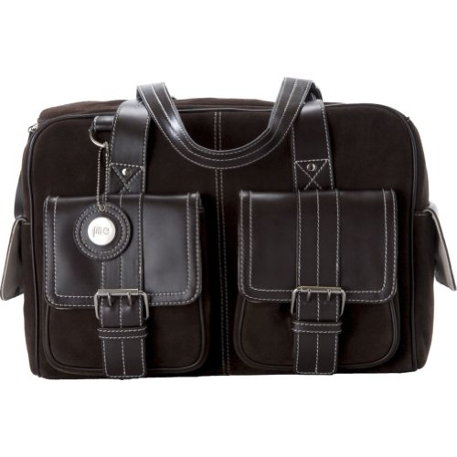 Jill-e 769404 Suede Camera Bag Medium with Brown Leather Trim (Chocolate Brown)