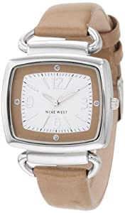 Nine West Women's NW1161WTCM  Silver-Tone and Natural Patent Strap Watch