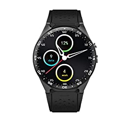 LOLERS Bluetooth Smartwatch KW88 MT6580 Quad Core 1.39 inch Amoled OGS Screen 3G Calling Pedometer Heart Rate Monitor 5.0MP RC Camera GPS WiFi Android 5.1 (Black)