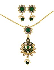 Tradisyon Celebrity Inspired Stunning Green Kundan Necklace Set With Green Drop By Kaizer Jewelry DS-02