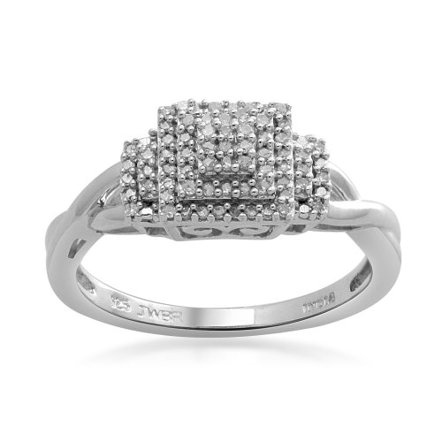 Sterling Silver Diamond Promise Ring (1/6 Cttw, I-J Color, I3 Clarity), Size 6
