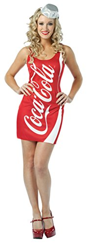 Rasta Imposta Womens Comical Coca Cola Coke Tank Dress Adults Halloween Costume