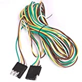 """Anytime Tools 240"""" (20 Ft.) 4 Wire Pin Flat TRAILER LIGHT EXTENSION CORD 4 way Plug"""